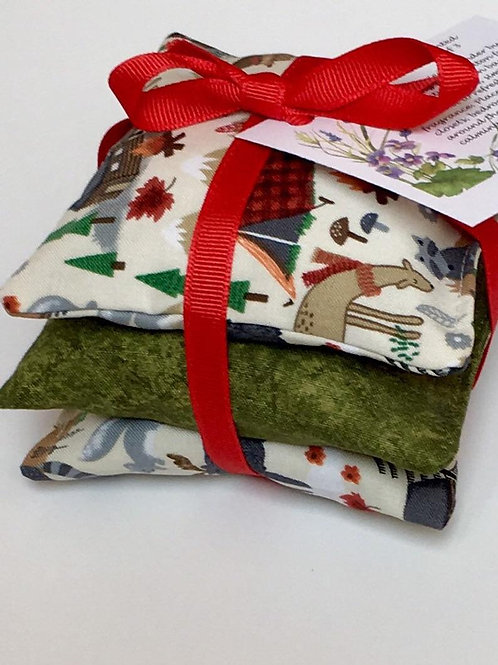 Lavender Sachets  Set of 3 in Rustic Camping and Woods Animals Print
