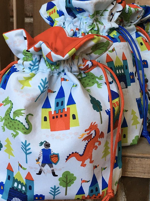 Gift Bag for Boy in Castle and Dragons Print