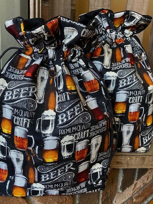 Beer Mug Print Drawstring Fabric Bag