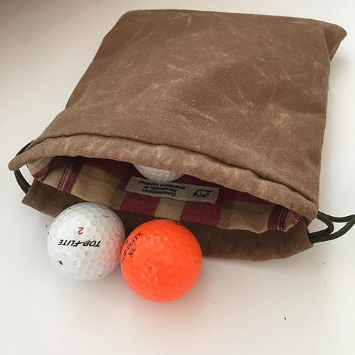 Waxed Canvas Golf Ball and Tee Bag