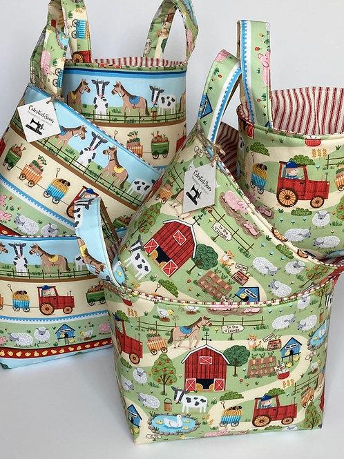 Toy Storage Nesting Baskets In Farm Decor Print for