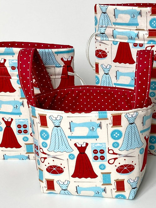 Retro Mothers Day Reusable Quilted Fabric Drawstring Gift Wrap Bag