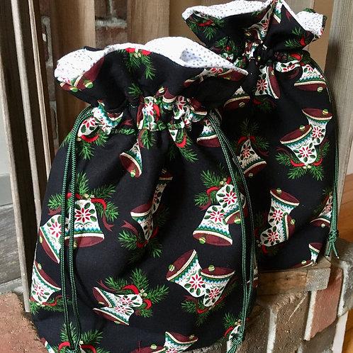 Large Bells on Black Christmas Bag