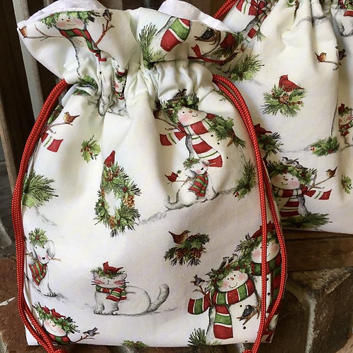 Country Cats and Snow Folks Pattern Holiday Drawstring Gift Bag - 4 Sizes