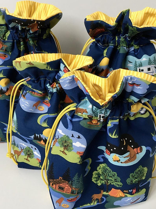 Camping Forest Animals Print Drawstring Fabric Bag - 3 Sizes