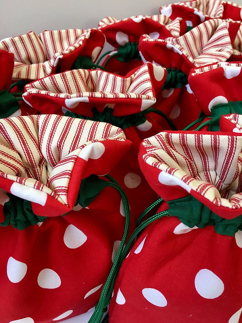 Polka Dot on Red Christmas Print Reusable Drawstring Gift Bag - 3 Sizes