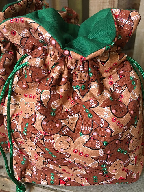 Christmas Gingerbread Men Reusable Fabric Holiday Gift Bag - 3 Sizes