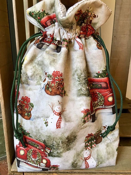 Fun Vintage Christmas Scene Quilted Cotton Drawstring Gift Bag - 4 Sizes