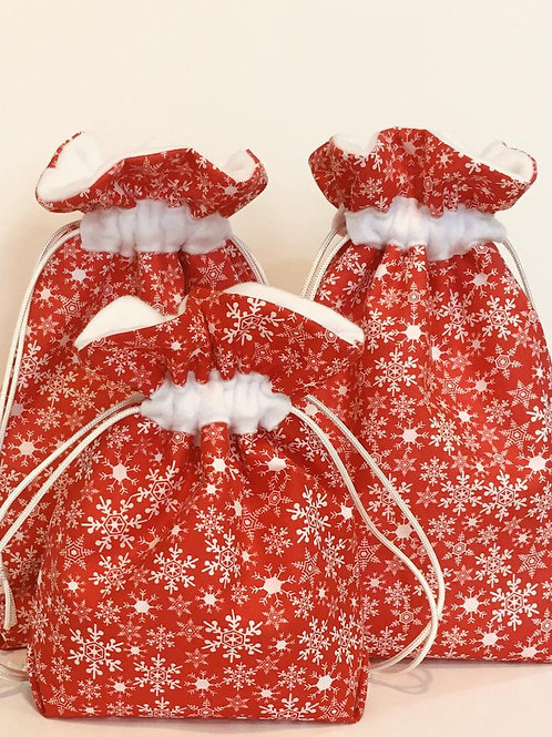 Snowflakes on Red Fabric Drawstring Gift Bag