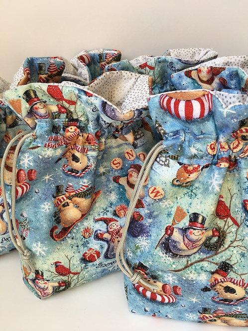 Frolicking Snowmen Print Cotton Drawstring Gift Bag - 3 Sizes