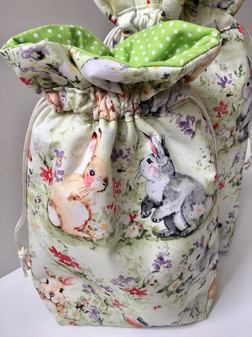 Fabric Easter Gift Bag in Pastel Bunnies Print