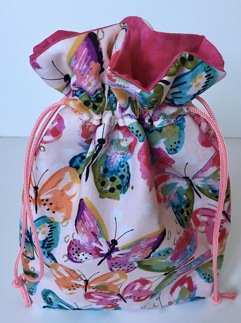 Fabric Gift Bag in Pink Glitter Butterfly Print