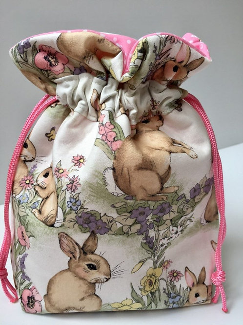 Fabric Gift Bag in Bunnies Print