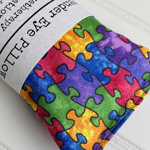 Autism Awareness Puzzle Pieces Lavender Weighted Eye Pillow Sensory Gift