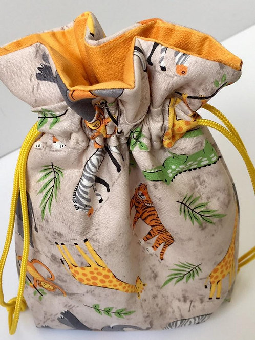 Jungle Animals Print Eco-Friendly Reusable Fabric Gift Bag - 2 Sizes