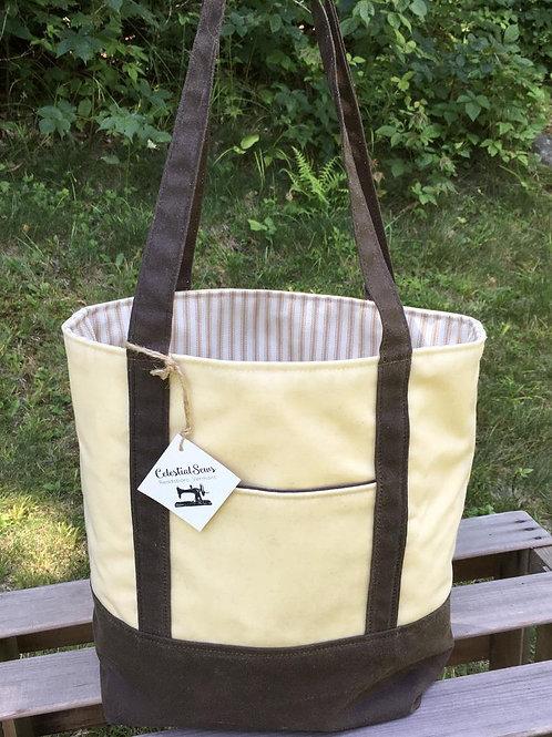 Waxed Canvas Open Top Tote Shoulder Bag
