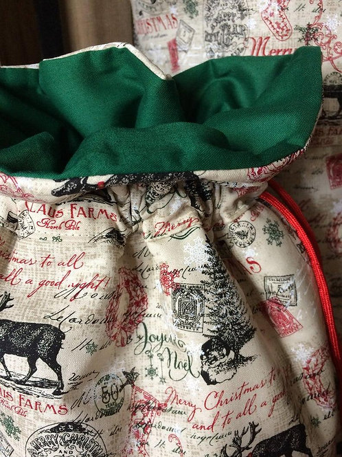 Merry Christmas Classic Print Heirloom Fabric Gift Bag - 3 Sizes