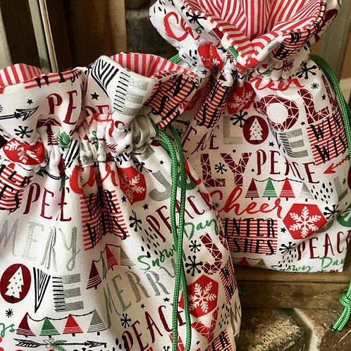 Reusable Christmas Fabric Gift Bag