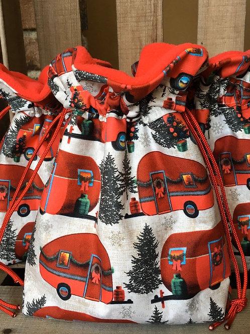 Retro Christmas Campers Print Fabric Drawstring Gift Bag - 2 Sizes