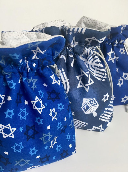 Traditional Hanukkah Fabric Gift or Wine Bag - 4 Sizes and 3 Designs