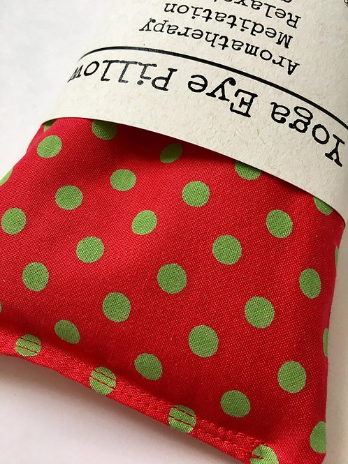 Green Dots on Red Eye Pillow