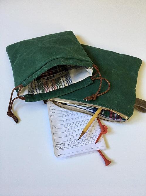 Waxed Canvas Golf Ball and Tee Bag Gift Set