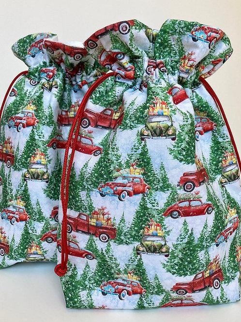 Santa Sack in Vintage Christmas Trucks Print