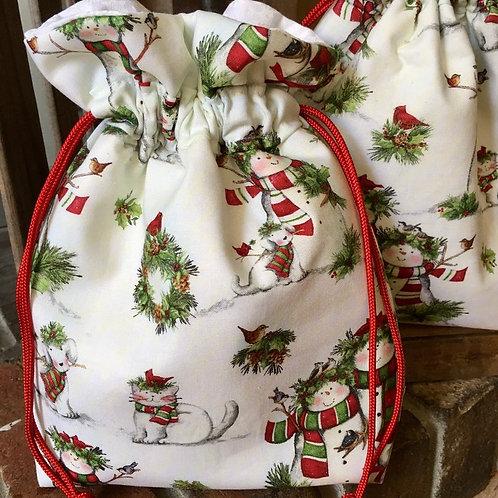 Snowmen on White Christmas Gift Bag