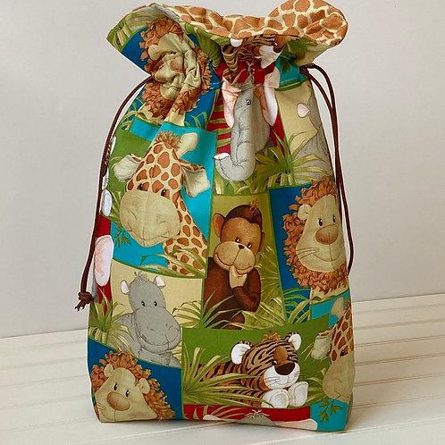 Jungle Animals Baby Shower Reusable Fabric Gift Bag