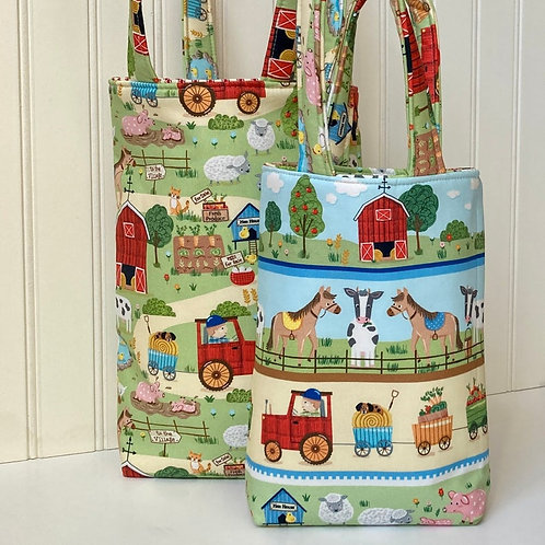 Childs Tote Bag for Toddler Preschooler in Farm Animals Print