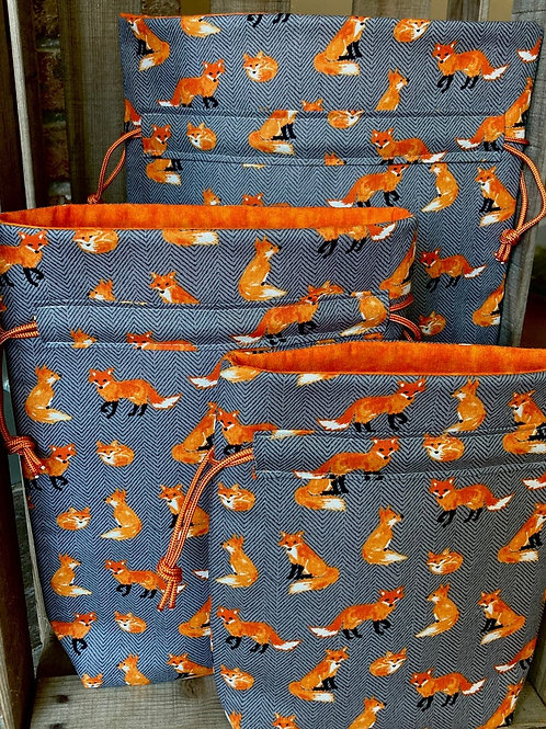 Foxes Drawstring Reusable Fabric Gift Bag - 3 Sizes