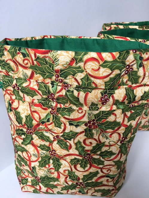 Holly and Ribbon on Gold Christmas Fabric Keepsake Gift Bag - 3 Sizes