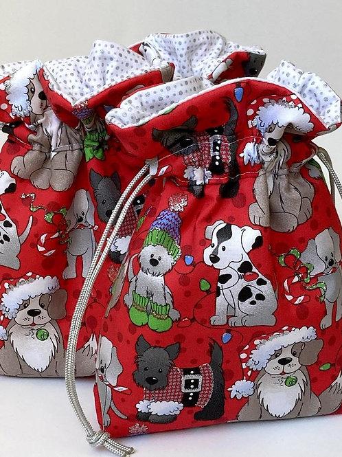 Christmas Puppies Pattern Christmas Drawstring Gift Bag - 4 Sizes
