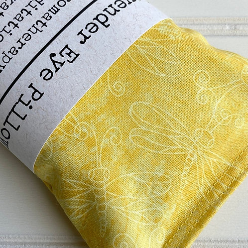 Lavender Weighted Eye Pillow in Yellow Dragonfly Print
