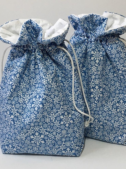 Snowflakes on Blue Holiday Winter Fabric Drawstring Gift or Wine Bag