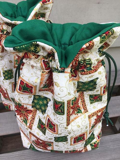Metallic Poinsettia Christmas Bag