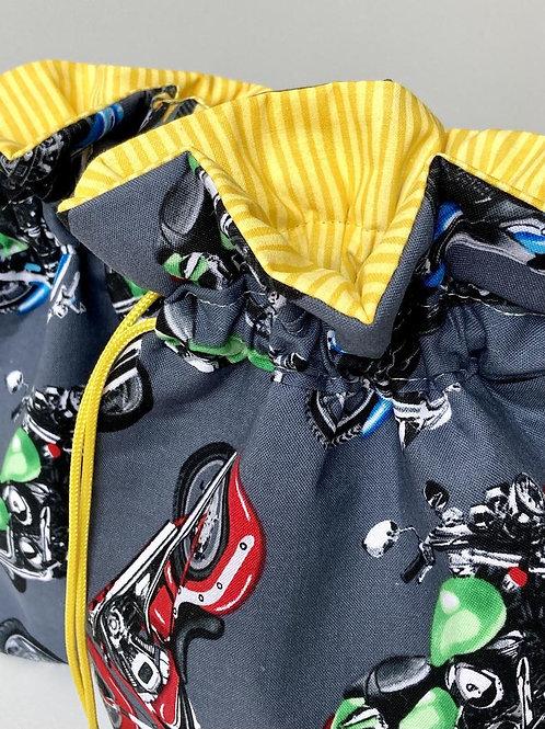Motorcycle Print Fabric Drawstring Gift Bag