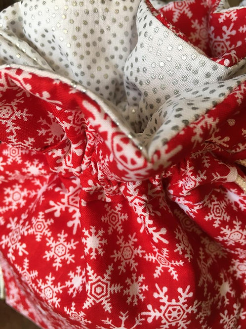 Snowflakes on Red Elegant Christmas Fabric Gift Bag - 4 Sizes