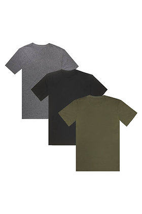 Organic Crew Neck 3-Pack - Heather Grey, Faded Black, Army Green
