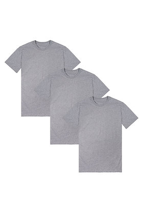 Organic Crew Neck 3-Pack - Athletic Grey