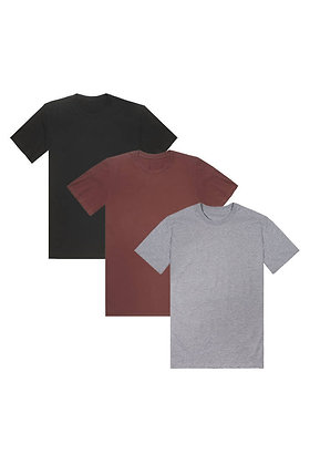 Organic Crew Neck 3-Pack - Faded Black, Burgundy, Athletic Grey