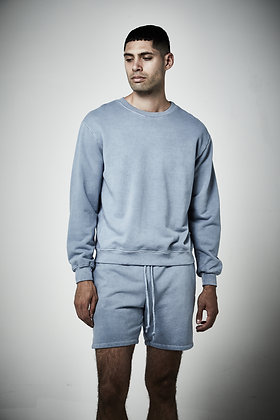 Mens unisex French terry Crew neck  sweater- Pigment wash- 8 - 10 weeks complete