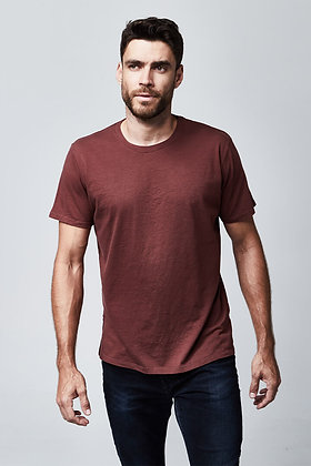 Organic Crew Neck T-Shirt - Burgundy