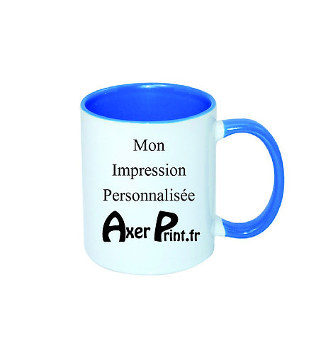 Mug Bleu Azur Bicolore Personnalisable