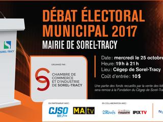 Débat des candidats à la mairie de Sorel-Tracy dans le cadre des élections municipales 2017.