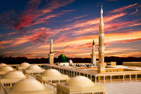 Sunset view of Madina Masjid Model 3d.
