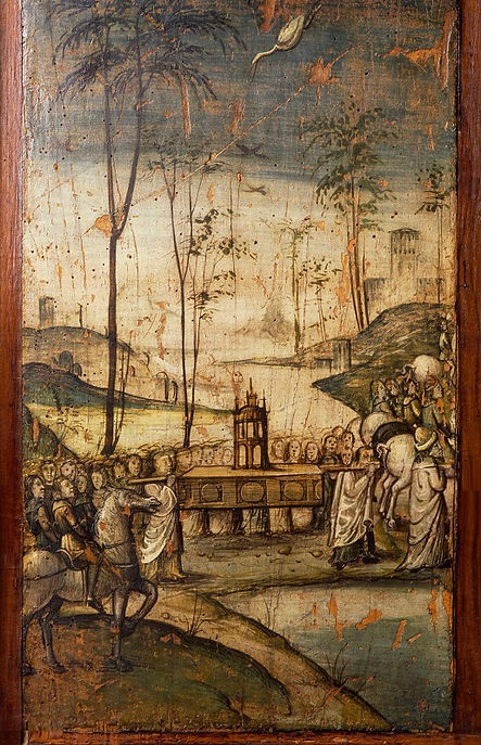 Crossing_the_Jordan_River_with_the_Ark,_painted_board,_detail_from_the_cabinets_of_the_Old