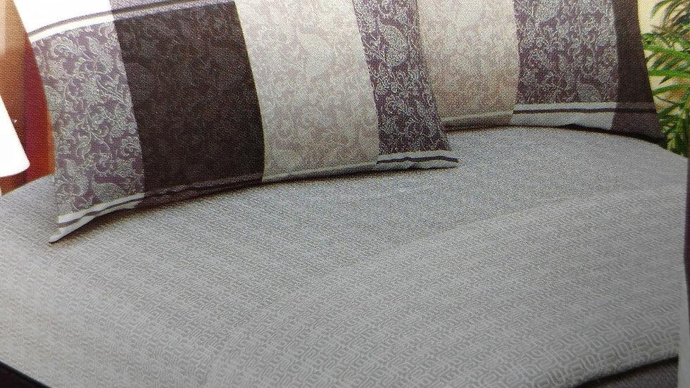 Elegant Jacquard Grey Floral Paisley Linen Fitted & Flat Sheets Set