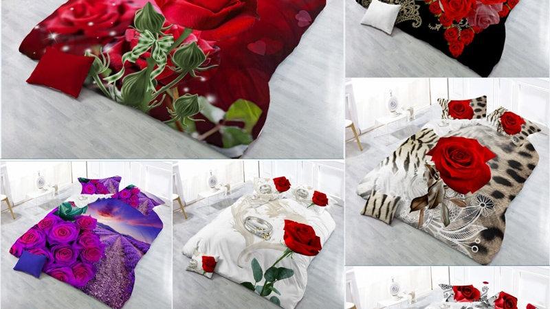 3D Red Rose Bedding Set 4PC