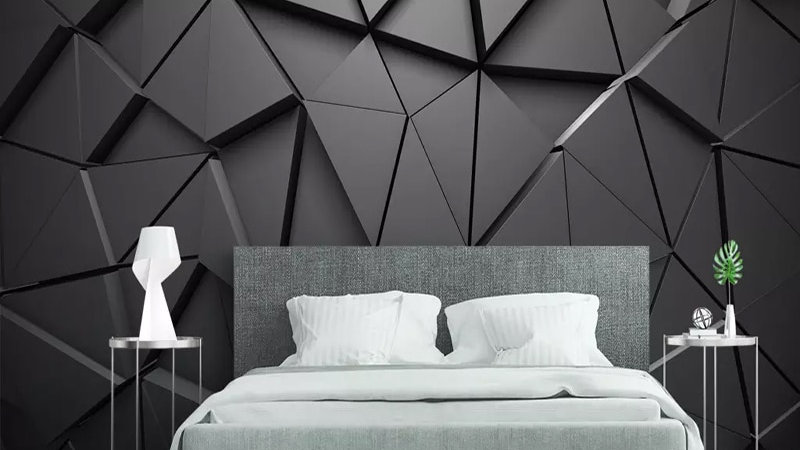 3D Geometric Abstract Gray Triangle Large Mural